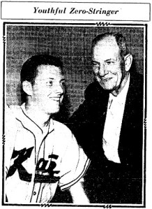 Bill Wakefield, pictured with his Ban Johnson League coach Lew Denny in the July 27, 1960 issue of The Sporting News