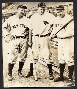 The Babe Ruth of the minors with the Babe Ruth of the majors in 1932. The other guy is Lou Gehrig.