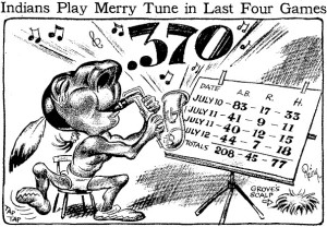 A cartoon in the Cleveland Plain Dealer on July 13, 1932, touting the Indians' hitting success over the previous three days